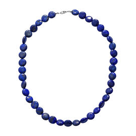 300 Ct Lapis Lazuli Beaded Necklace in Sterling Silver 20 Inch