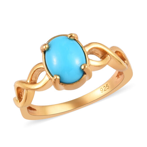 1 Carat Arizona Sleeping Beauty Turquoise Solitaire Ring in Gold Plated Sterling Silver
