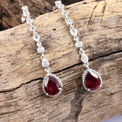 African Ruby (Pear), Natural Cambodian Zircon Dangling Earrings (with Push Back) in Platinum Overlay Sterling Silver 5.500 Ct. Silver wt 5.03 Gms.