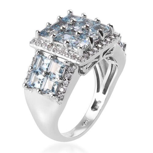 Espirito Santo Aquamarine and Natural Cambodian Zircon Cluster Ring in Platinum Overlay Sterling Silver 2.91 Ct.