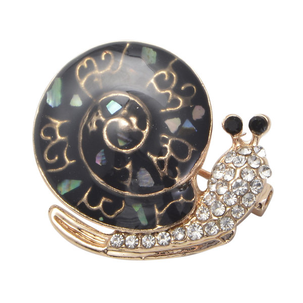 Black and White Austrian Crystal Enamelled Snail Brooch in Gold Tone