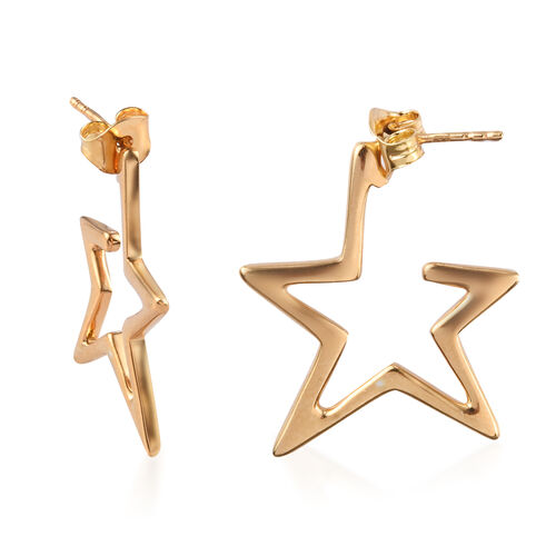 Sundays Child - 14K Gold Overlay Sterling Silver Star Hoop Earrings (with Push Back)