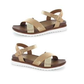 Ella Steph Strappy Cushioned Sandals in Golden Colour