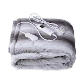 Serenity Night Electric Over Faux Fur Fleece Sherpa Blanket with Detachable Connector and Washable F