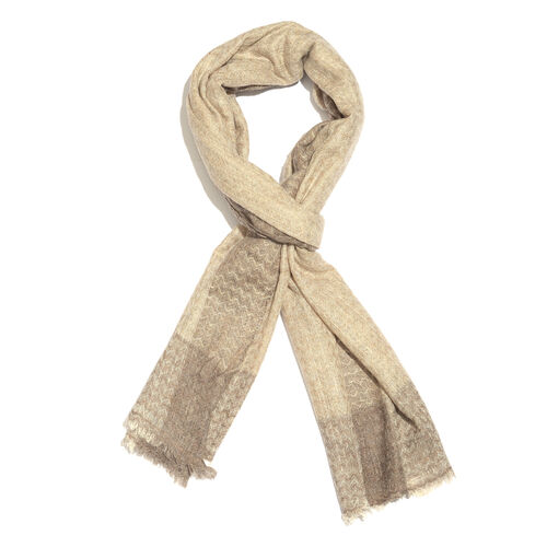 Cashmere & Merino Wool Blend Chocolate and Cream Colour Zigzag Pattern Scarf with Fringes (Size 200X