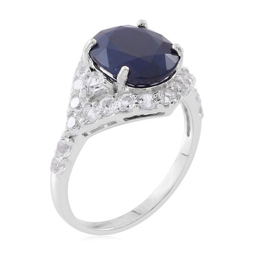 Kanchanaburi Blue Sapphire (Ovl 6.50 Ct), White Topaz Ring in Rhodium Plated Sterling Silver 9.050 Ct.