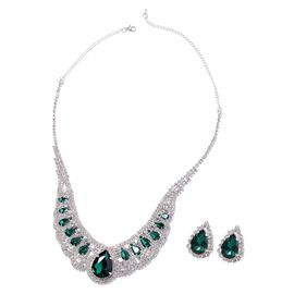 2 Pcs Set Green Glass and White Crystal Necklace 22 Inch and Stud Earring