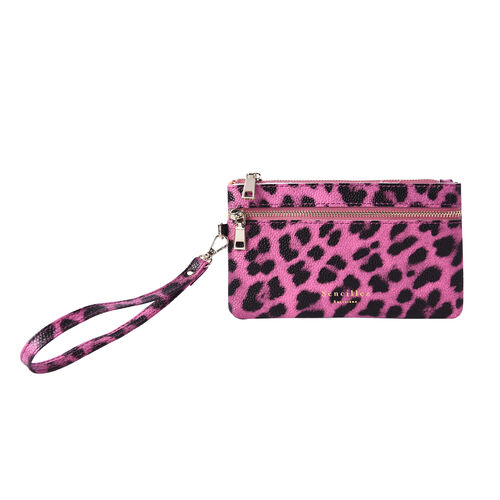 Set of 2 - 100% Genuine Leather Purple and Black Leopard Pattern RFID Clutch Wallet (18x10cm, 15x9cm)