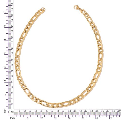 ION Plated Yellow Gold Stainless Steel Figaro Necklace (Size 20) and Bracelet (Size 8)