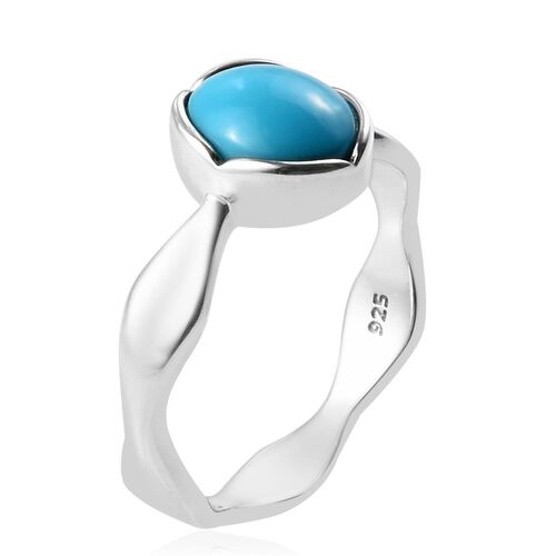 Arizona Sleeping Beauty Turquoise Solitaire Ring in Platinum Overlay Sterling Silver 1.00 Ct.