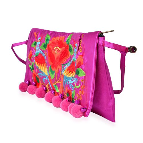 Shanghai Collection Pink, Red and Multi Colour Floral and Birds Embroidered Clutch Bag with Pom Pom (Size 35X18 Cm)