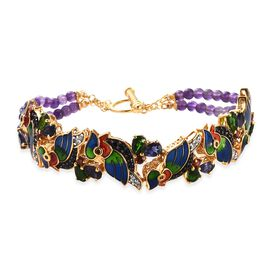 GP 16.67 Ct Amethyst and Multi Gemstone Macaw Bracelet in 14K Gold Plated Silver 7.5 Inch