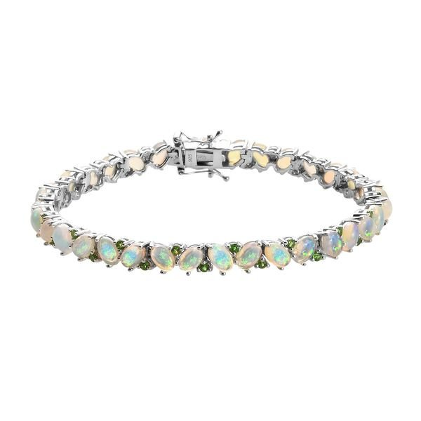 Ethiopian Welo Opal and Russian Diopside Bracelet (Size 7.5) in Platinum Overlay Sterling Silver 11.
