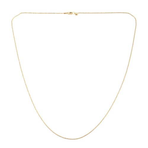 JCK Vegas Collection 14K Gold Overlay Sterling Silver Adjustable Diamond Cut Bead Chain (Size 24), Silver wt 3.10 Gms.