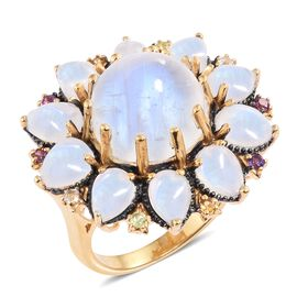 Sri Lankan Rainbow Moonstone (Rnd 10.40 Ct), Amethyst, Rhodolite Garnet and Multi Gemstone Floral Ring in Blue and 14K Gold Overlay Sterling Silver 20.000 Ct. Silver wt 8.70 Gms