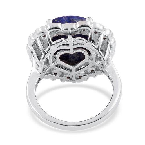 Lapis Lazuli (Hrt) Solitaire Ring in ION Plated Platinum Bond 6.500 Ct.