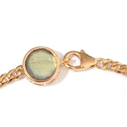 Labradorite (Rnd) Station Bracelet (Size 7.5) in 14K Gold Overlay Sterling Silver 19.000 Ct.