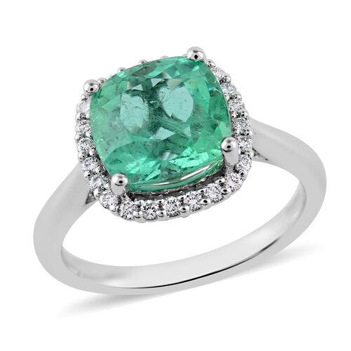 RHAPSODY 950 Platinum AAAA Boyaca Colombian Emerald and Diamond (VS/E-F) Ring 3.50 Ct, Platinum wt.