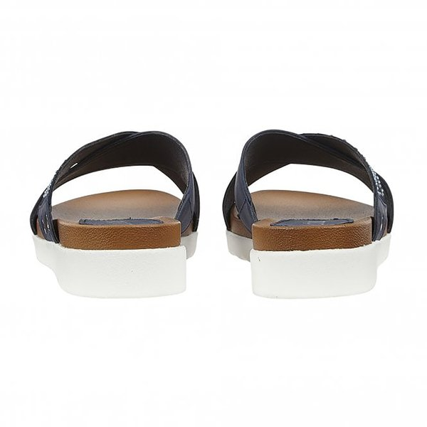 Lotus Navy Sharon Flat Mule Sandals (Size 7)