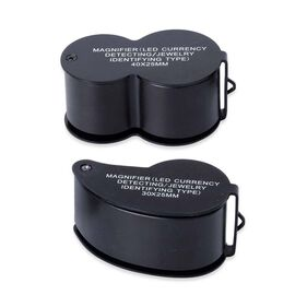 DOD - Set of 2 - Jewellery Magnifier with UV & LED Light (Included 3 x LR1130 Batteries) - Black Col