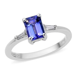 RHAPSODY 1.10 Ct AAAA Tanzanite and Diamond Solitaire Ring in 950 Platinum 3.60 Grams VS EF