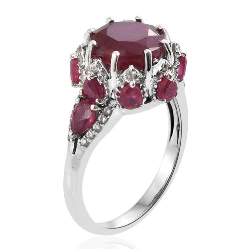 Limited Edition - African Ruby (Rnd 7.00 Ct), Natural Cambodian Zircon Ring in Platinum Overlay Sterling Silver 10.000 Ct. Silver wt 5.20 Gms.