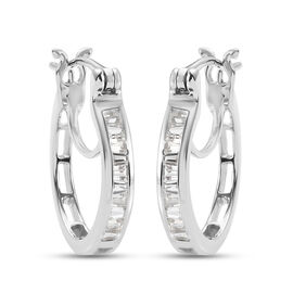 100% Natural White Sapphire J Hoop Half Hoop Earrings (with Clasp) in Platinum Overlay Sterling Silv