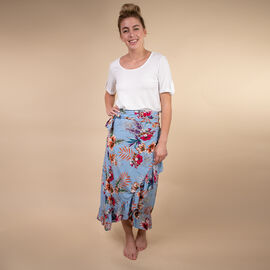 TAMSY Floral Printed Wrap Skirt - Light Blue