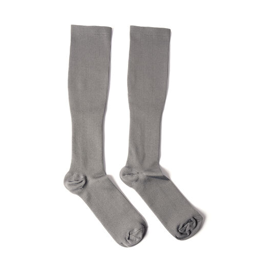 Set of 3 - Copper Fit Socks (Size L/XL), Copper Knee Sleeve (Size L), Copper Elbow Sleeve (Size L) - Grey and Black