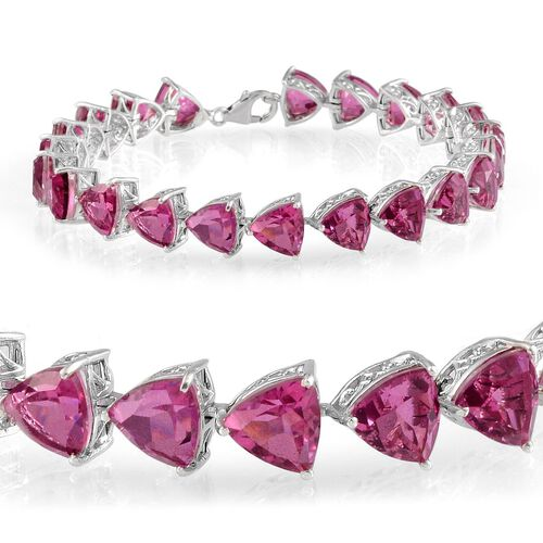 Radiant Orchid Quartz (Trl) Bracelet (Size 8) in Platinum Overlay Sterling Silver 40.000 Ct.
