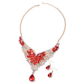 2 Piece Set - Simulated Red Spinel (Pear and Mrq), White Austrain Crystal Hook Earrings and Necklace