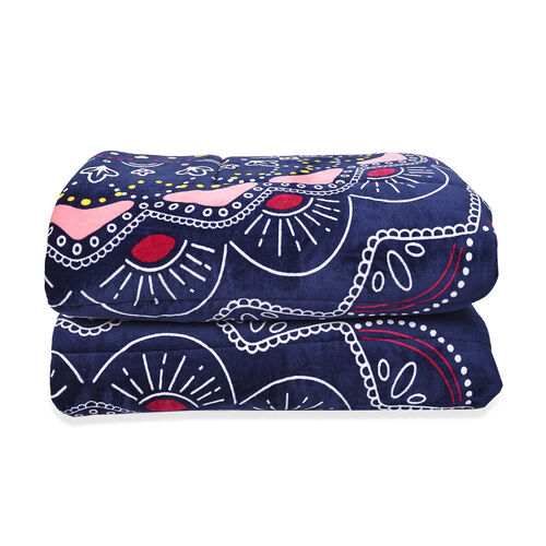 Set of 3 - Microflannel Mandala Printed Comforter in King Size with Sherpa Lining with 2 Sherpa Pillowcases - Navy, Pink and Multi Colour (230x250 Cm)
