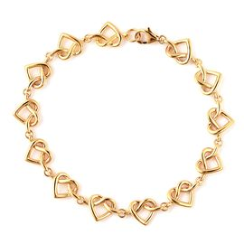 LucyQ Yellow Gold Overlay Sterling Silver Entwined Heart Bracelet (Size 7.5), Silver wt 8.24 Gms