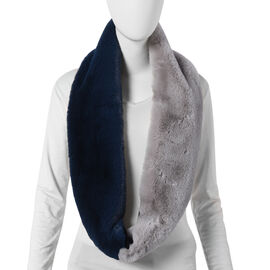Navy and Grey Faux Fur Infinity Scarf (Size 70x15cm)