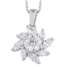 J Francis Platinum Overlay Sterling Silver (Rnd and Mrq) Pendant with Chain (Size 20) Made with Swar