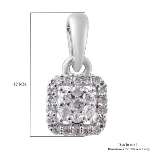 9K White Gold SGL Certified Diamond (I3/G-H) Cluster Pendant 0.15 Ct.