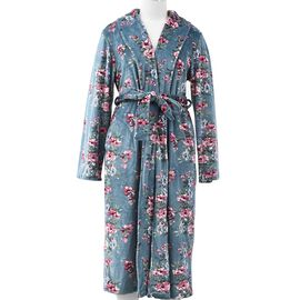 Super Soft Floral Print Robe (Size 65x125 Cm) - Teal and Multicolour