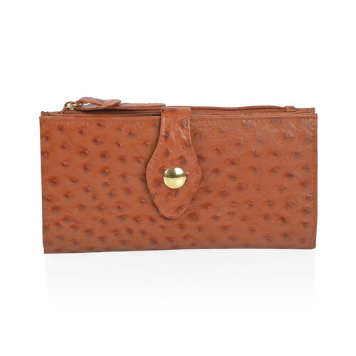 Close Out Deal 100% Genuine Leather Italian Tan Ostrich Embossed Large Clutch Wallet with RFID Block