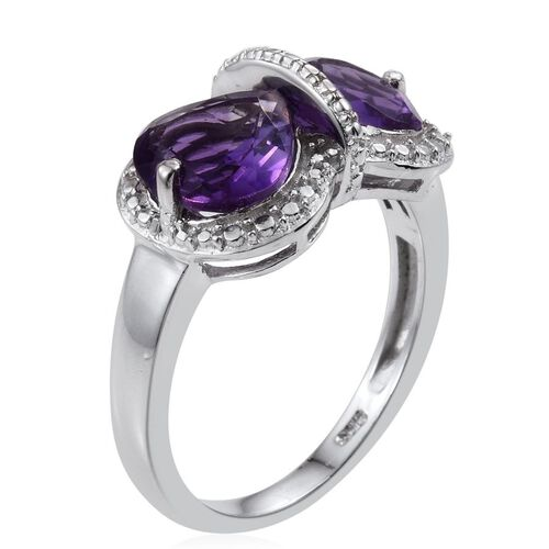 Uruguay Amethyst (Hrt) Ring in Platinum Overlay Sterling Silver 2.500 Ct.