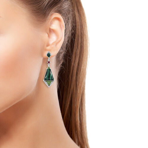 GP Multi Gem Stone Dangle Earrings (with Push back) in Platinum Overlay Sterling Silver 20.500 Ct., Silver wt 9.14 Gms.