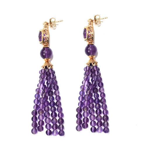 Designer Inspired - Amethyst and Natural Cambodian Zircon Tassel Earrings (with Push Back) in Yellow Gold Overlay Sterling Silver 40.000 Ct. Number of Gemstones 126