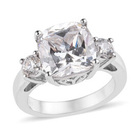 J Francis Made with SWAROVSKI ZIRCONIA Trilogy Design Ring in Platinum Plated