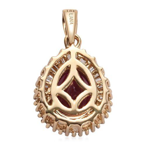 ILIANA 18K Yellow Gold AAAA Burmese Ruby (Pear 9x7mm), Diamond (SI/G-H) Pendant 2.00 Ct.