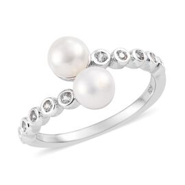 Freshwater Pearl (Rnd), Natural Cambodian Zircon Bypass Ring in Platinum Overlay Sterling Silver