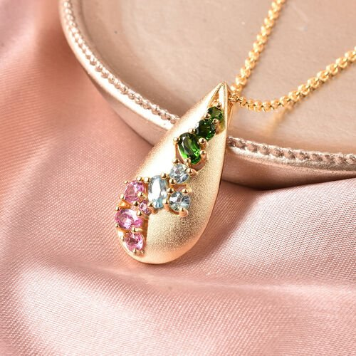 RACHEL GALLEY Sandblast Collection - Cambodian Blue Zircon, Madagascar Pink Sapphire and Russian Diopside Pendant With Chain (Size 20) in Yellow Gold Overlay Sterling Silver