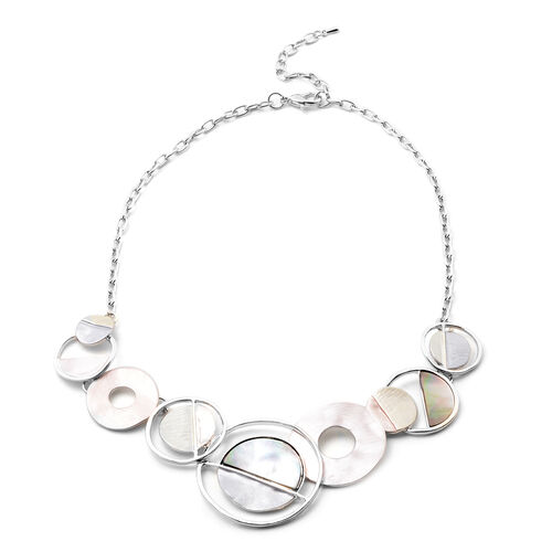 2 Piece Set - Brown and Grey Shell Enamelled Necklace (Size 20 with 2 inch Extender) and Earrings (with Push Back) in Silver Tone