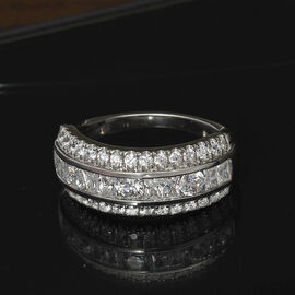 J Francis Platinum Overlay Sterling Silver Ring Made with SWAROVSKI ZIRCONIA 2.16 Ct.