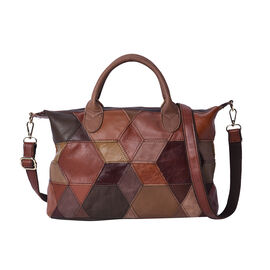 100% Genuine Leather Patch Tote Bag with Zipper Closure and Adjustable Shoulder Strap (Size 34x16x22