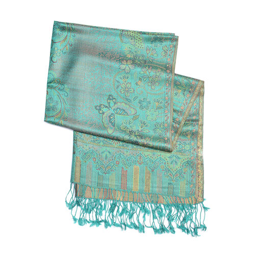 SILK MARK - 100% Superfine Silk Mint and Multi Colour Butterfly and Floral Pattern Scarf (Size 180x70 Cm)