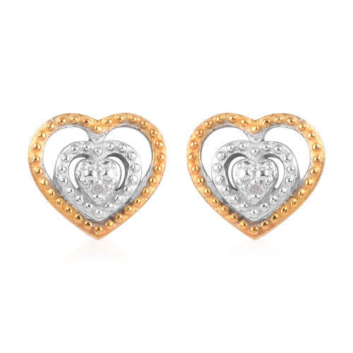 Diamond Heart Stud Earrings (with Push Back) in Yellow Gold and Platinum Overlay Sterling Silver